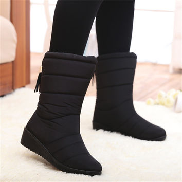 Women Boots Female Down Winter Boots Waterproof Warm Girls Ankle Snow Boots Ladies Shoes Woman Warm Fur Botas Mujer