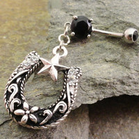 Horseshoe Belly Button Ring Western Cowgirl by MidnightsMojo