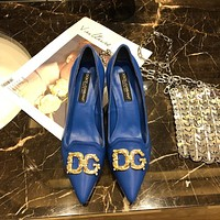 D&G DOLCE & GABBANA Women's Leather Fashion High-heeled Shoes
