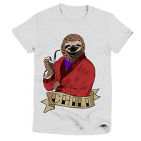 Chill Sloth Womens White T Shirt - Graphic Tee - Clothing - Gift