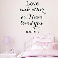 Wall Decals Vinyl Decal Sticker Mural Interior Design Quote John 15:12 Love Each Other As I Have Loved You Kids Nursery Baby Room Boy Girl Bedding Decor