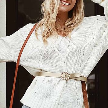 Making Things Happen White Long Sleeve V Neck V Back Cable Knit Pullover Sweater