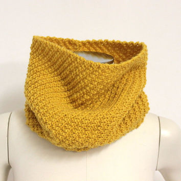 Mustard Snood Scarf, Knit Infinity Scarf, Yellow Knit Cowl, Wool Neck Warmer, rib Knit Scarf, Chunky Mustard Cowl, Knitted Circle Scarf