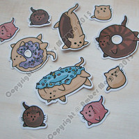 Donut Cat Stickers, Paper Stickers, Journaling, Sticker Flakes, Cute Cats, Funny, Humor, Silly, Stationery, Scrapbooking, Cute Food
