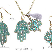 Bohemian Vintage Necklace Guitar Life Tree Pendant Antique Bronze Chain Hamsa Hand Necklaces for Valentine Gift