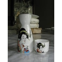 """Asian 2 (Two) Piece Sake 5 1/2"""" Tea Pourer and 1 3/4 Cup Porcelain Made in China"""