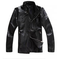 Men Black Stand Collar Faux Leather Zipper Long Sleeve Jacket@505-150bl