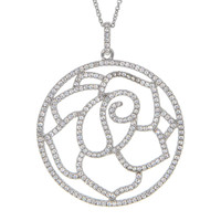 Dear Deer White Gold Plated Rose Filigree CZ Pave Pendant Necklace