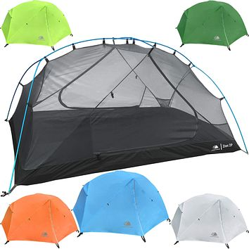 Hyke & Byke Zion 1 and 2 Person Backpacking Tents with Footprint - Lightweight Two Door Ultralight Dome Camping Tent 2P - Blue