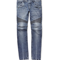 Balmain - Slim-Fit Washed-Denim Biker Jeans | MR PORTER