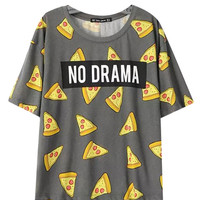 Grey Pizza Print Loose T-shirt