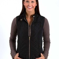 Quilted Vest with Gold Accents in Black SWJ2281