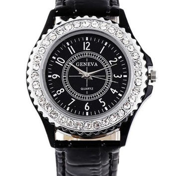 Women Men Unisex Fashion Roman Numeral Diamond Decorated Crocodile Round Dial Quartz Analog Wrist Watches = 1956739588