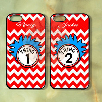 Thing 1 and thing 2 chevron Couple Best Friend Cases-iPhone 5 , 5s, 5c,4s, 4,Ipod touch 5, Samsung GS3, GS4-Rubber Hard Plastic Case, cove