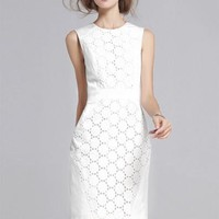 Ivory Hollow Lace Dress