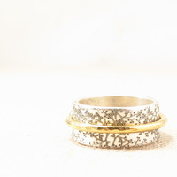 Spinner Ring - Mixed Metal Jewelry - Silver Engraved Ring