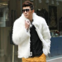 Best selling! Men 2015 new winter black fashion longhaired faux fur coat Fox fur Turn-down Collar full fur coats men fur jacket