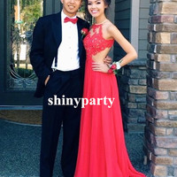 A Line Round Neck Red Lace Prom Dresses, Red Lace Formal Dresses, Red Lace Evening Dresses