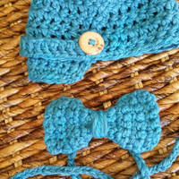 Crochet Newsboy Hat and Matching Bow Tie, Newborn Boy Photo Prop, Baby Shower Gift, Birth Announcement Outfit, Baby Boy Hat and Tie