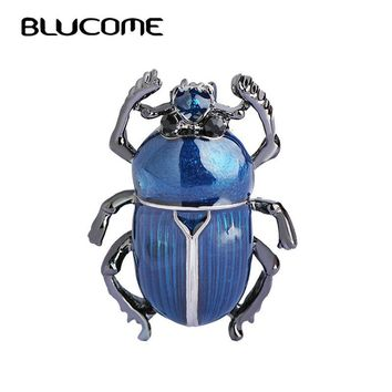 Blucome Blue Insects Brooches Gold Color Enamel Teflon Small Cockroach Brooch Pins Vintage Women Hats Scarf Clips Jewelry Bijoux