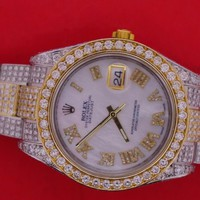 Rolex Date just 2 II 41mm Two Tone Watch Flooded With 18 Carat Diamonds Hip Hop
