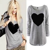 Women Heart Printed Tops T-shirts Spring Autumn Embroidery Design t shirts Female O-Neck Long sleeve tee T shirt blusas