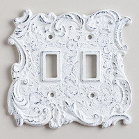 Double White Cast Iron Switch Plate