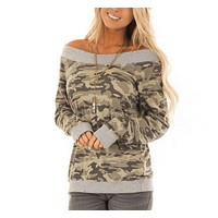 Autumn and winter women's new fashion camouflage printed one shoulder long sleeve shirt