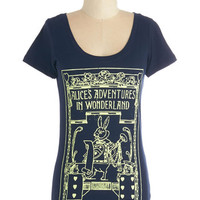 ModCloth Scholastic Mid-length Short Sleeves Winsome in Wonderland Tee