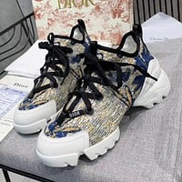DIOR trend new color matching print ladies personalized Martin boots casual shoes