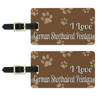 I Love German Shorthaired Pointers Brown with Paw Prints Luggage Tag Set