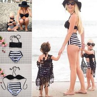 Mother Daughter Swimsuit Women Kids Girls Swimwear Bathing Suit Bikini Beachwear