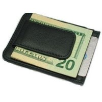 Fine Leather Hand Crafted Mans Man's Mens Men's Mini Wallet Credit Card ID Holder, Black