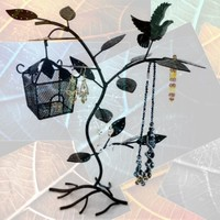 14.75 inch Black Birdhouse 60 pair Earring Hanger Necklace Bracelet Jewelry Tree Organizer Display Stand
