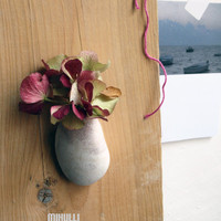 vase for dry or fresh flowers wall decor hand made beach stone vase
