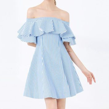 New women's wear one-word collar with shoulder-shoulder, leaf-edge stripes and short clavicle waist-closing dress
