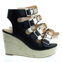 Hamza Gladiator Sandal On Espadrille Platform Wedge Sandal, Open Toe Shoe