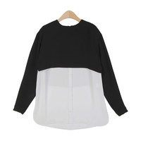 Black Cropped Layered Blouse