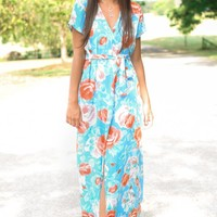 All Wrapped Up Blue Floral Print Maxi Dress