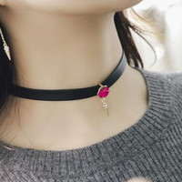 New fashion jewelry crystal with leather choker necklace mix color gift for women girl N1801