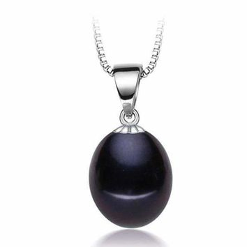 Tahitian Black Genuine Freshwater Pearl Drop 925 Sterling Silver Necklace for Women