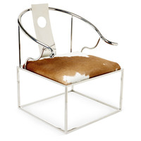 Taylor Burke Home, Soho Hide Accent Chair, Brown/White, Accent & Occasional Chairs