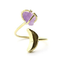 Crescent Moon And Amethyst Stone Ring