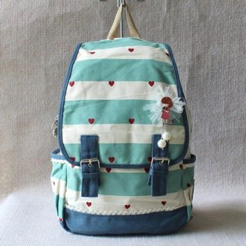 Lovely Girl Stripe&Lace Washed Canvas Backpack