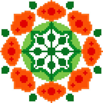 Chinese lantern flower mandala. Contemporary cross stitch pattern. Modern cross stitch design.