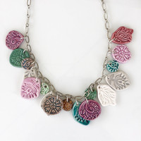 17 Charm Indie Necklace -Firelight Pottery