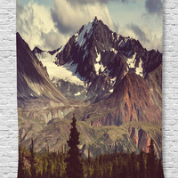 MYNELO Ambesonne Alaska Mountains Decor Collection, Arctic Landscape Wilderness and Hiking Mountain in USA Picture, Bedroom Living Kids Girls Boys Room Dorm Accessories Wall Hanging Tapestry, Green Blue