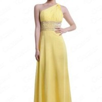 Moonar Chiffon One Shoulder Ankle-length Prom Formal Gown Party Bridesmaid Wedding Dress Yellow Size 6