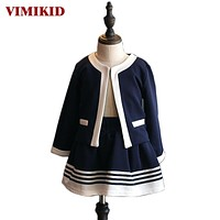 Kids Clothes Girls Clothing Set Navy Blue Short Jacket and Skirts Suits Children Formal School Uniform