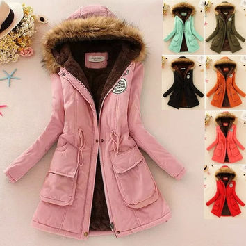 2015 New Long Parkas Female Women Winter Coat Thickening Cotton Winter Jacket Womens Outwear Parkas for Women Winter = 1956213764